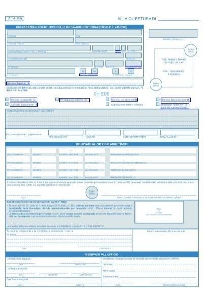 modulo rinnovo passaporto