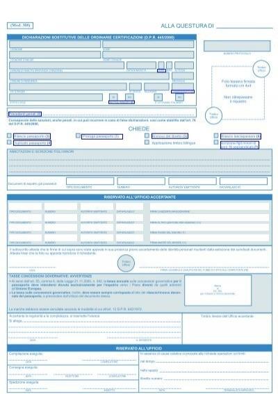 moduli rinnovo passaporto