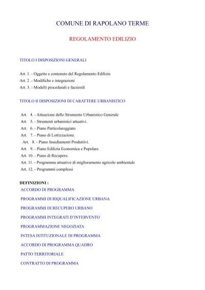 regolamento edilizio comunale comune di rapolano terme