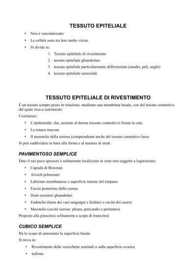Tessuto epiteliale pdf