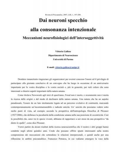 Dai neuroni specchio alla consonanza intenzionale meccanismi - Il budda nello specchio pdf gratis ...