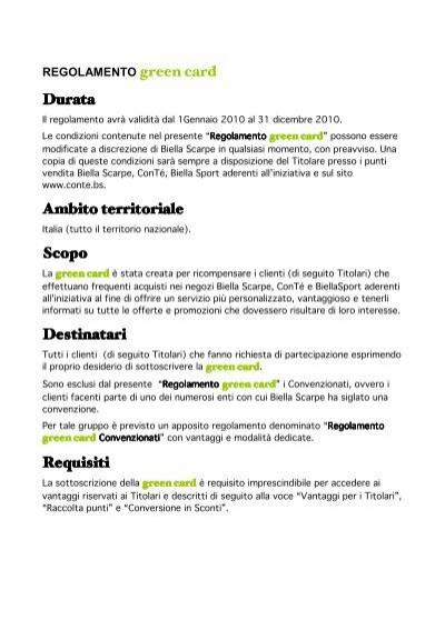 the best attitude 6faf2 642ce Regolamento green card - ConTé
