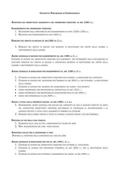 Contratto preliminare di compravendita studio legale for Preliminare compravendita