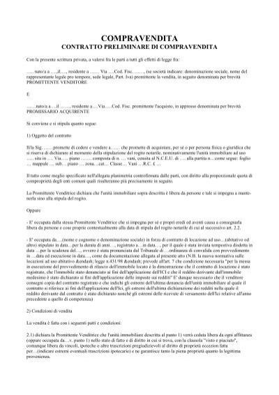 Contratto preliminare compravendita servizinisi it - Contratto preliminare esempio ...