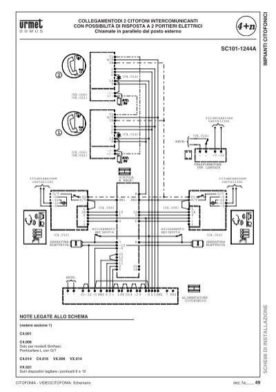 Impianti for Citofono elettronico urmet atlantico schema