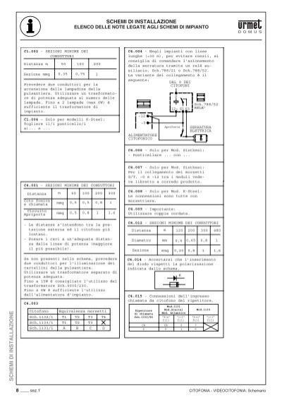 Schemi di installazione c for Schema citofono urmet 1130 16