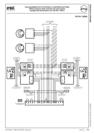 Schema Elettrico Urmet 786 15 : Impianti citofonici schem