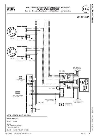 Impianti citofonici schem for Citofono elettronico urmet atlantico schema