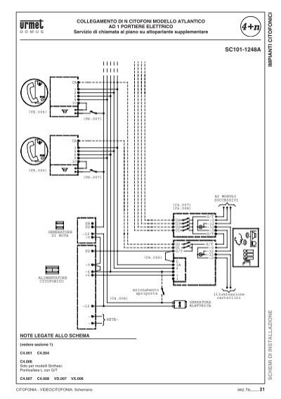 Impianti citofonici schem for Urmet 1130 12 schema