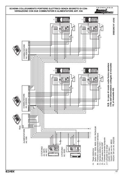 Schema Collegamento Elvox 831 : Schema elettrico elvox a kit citofonico monofamiliare