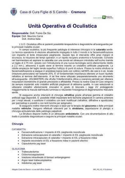 Unit operativa di oculistica casa di cura figlie di san camillo - Casa di cura san maurizio canavese ...