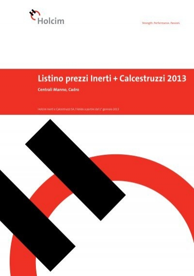 listino prezzi inerti calcestruzzi 2013 centrali manno holcim. Black Bedroom Furniture Sets. Home Design Ideas