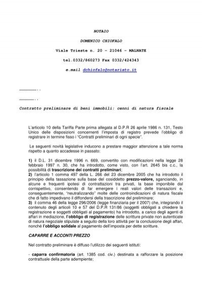 Contratto preliminare di beni immobili cenni di natura - Contratto preliminare esempio ...