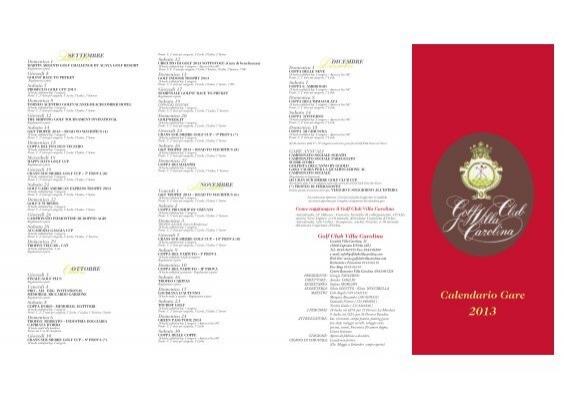 Acaya Golf Club Calendario Gare.01 Depliant Gare 2013 Golf Club Villa Carolina