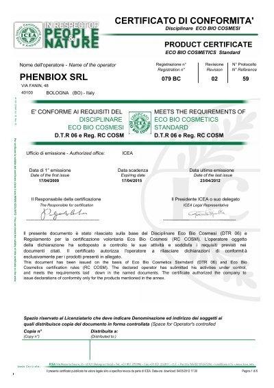 phenbiox srl certificato di conformita 39