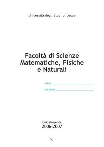 Unical Farmacia Calendario Accademico.Facolta Di Scienze Matematiche Fisiche E Naturali Corso