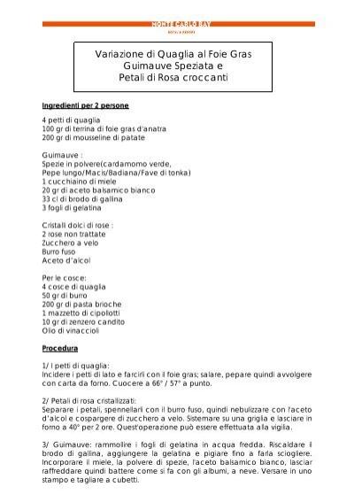 Variazione Di Quaglia Al Foie Gras Guimauve Monte Carlo Sbm