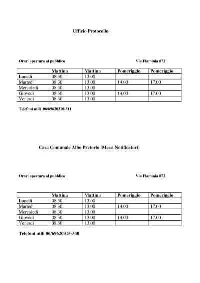 Ufficio protocollo for Ufficio decoro urbano comune di roma