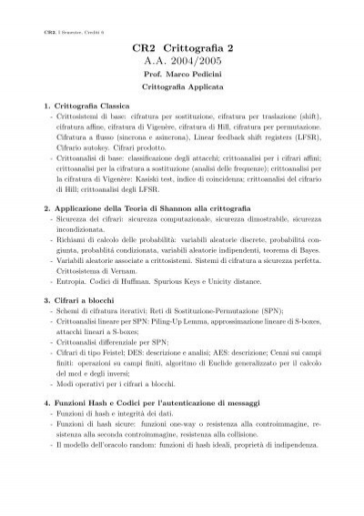 CR2 Crittografia 2 A A  2004/2005 - Istituto per le