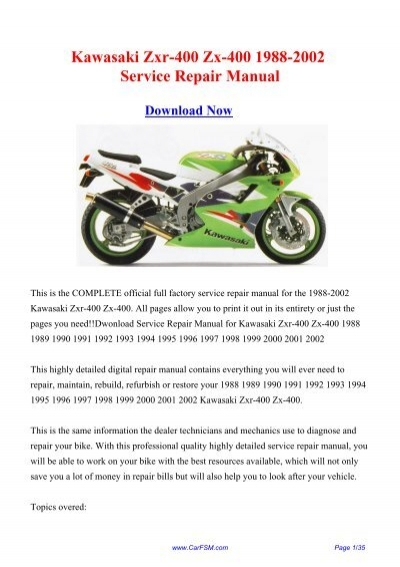 1988 2002 Kawasaki Zxr 400 Zx 400 Workshop Repair Manual