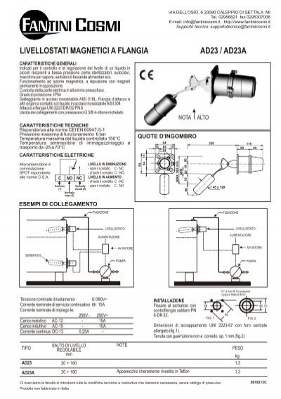Istruzioni ad23 fantini cosmi for Istruzioni termostato fantini cosmi