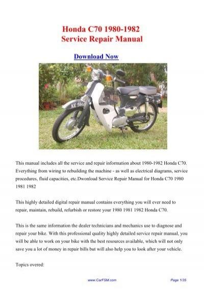 Download Honda C70 1980-1982 Factory Repair Manual on