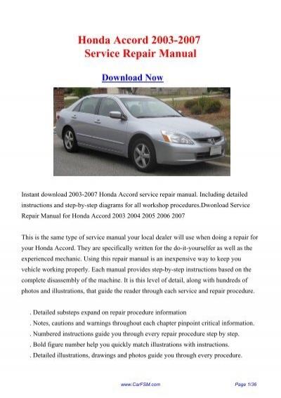 Download Honda Accord 2003 2007 Service Repair Manual   Carfsm