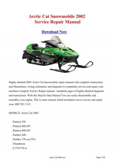 [DHAV_9290]  2002 Arctic Cat Snowmobile Workshop Manual - Repair manual | Arctic Cat Jet Ski Wiring Diagrams |  | Yumpu