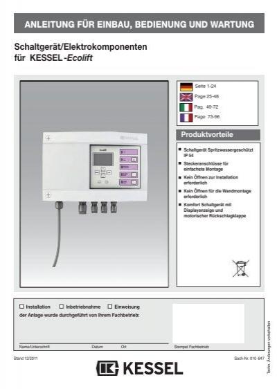 4. Betrieb Schaltgerät - Kessel