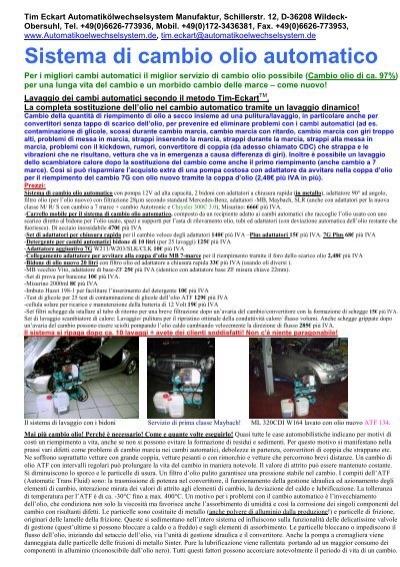 Sistema di cambio olio automatico tim eckart for Sistema di irrigazione automatico