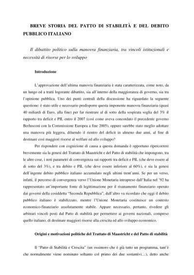 Breve Storia Del Patto Di Stabilit U00c3 U0192 U00c2 U20ac E Del