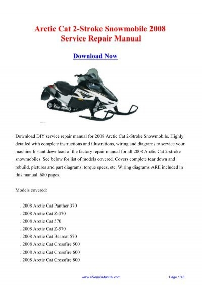 [WLLP_2054]   Arctic Cat 2-Stroke Snowmobile 2008 Service ... - eRepairManual.com | Arctic Cat Snowmobile 4 Stroke Wiring Diagrams |  | Yumpu