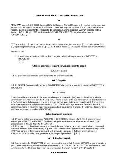 Contratto di locazione uso commerciale pdf for Contratto di locazione