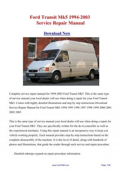 download 1994 2003 ford transit mk5 workshop repair manual rh yumpu com 2013 Ford Transit 2017 Ford Transit