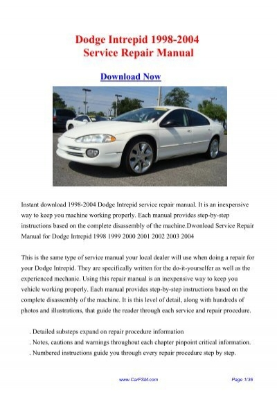 1998 2004 dodge intrepid workshop manual repair manual 2004 dodge intrepid owners manual pdf 2004 dodge intrepid owners manual free download