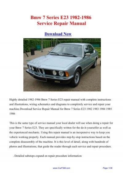1982 1986 Bmw 7 Series E23 Workshop Manual Repair Manual