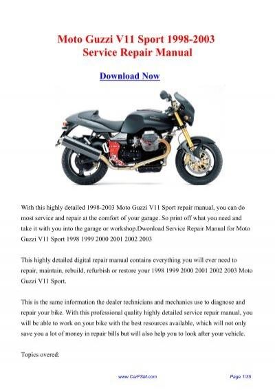 download moto guzzi v11 sport le mans rosso corsa caf eacute sport ballabio service repair workshop manual