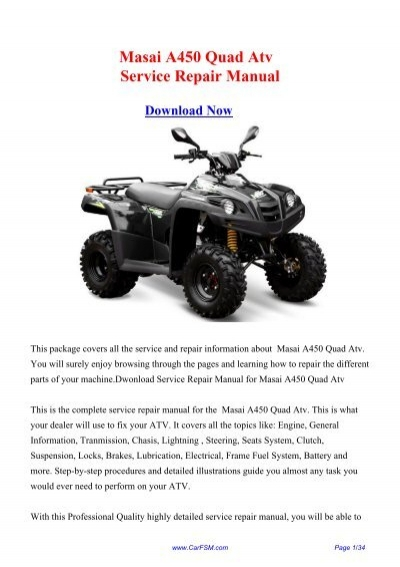 Masai A450 Quad Atv Workshop Manual Repair Manual