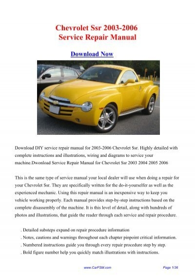 2003-2006 Chevrolet Ssr Workshop Manual