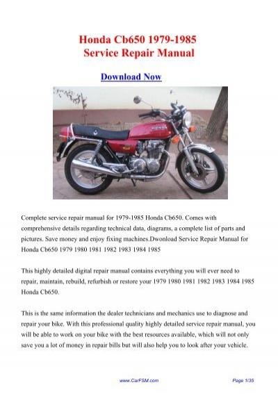 1979-1985 Honda Cb650 Service Repair Manual on