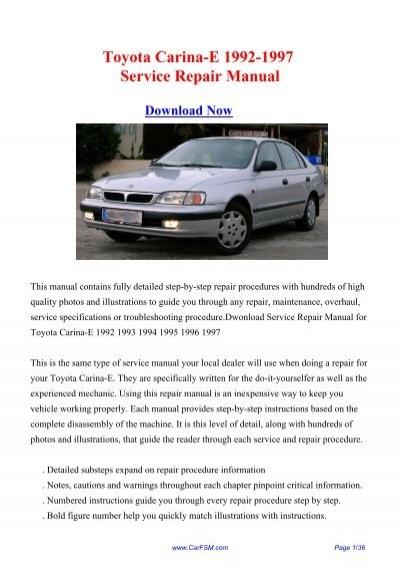 Download Toyota Carina E 1992 1997 Service Repair Manual
