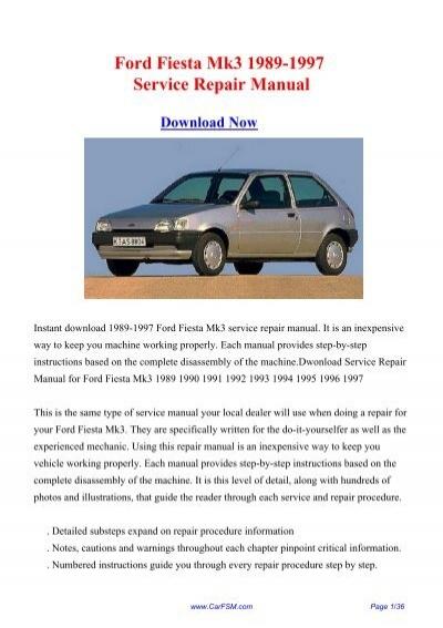 download ford fiesta mk3 1989 1997 workshop repair manual rh yumpu com Ford Transit Connect Ford Transit Interior