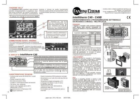 Istruzioni c49 fantini cosmi for Istruzioni termostato fantini cosmi
