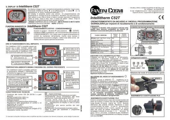 Istruzioni c52t fantini cosmi for Istruzioni termostato fantini cosmi