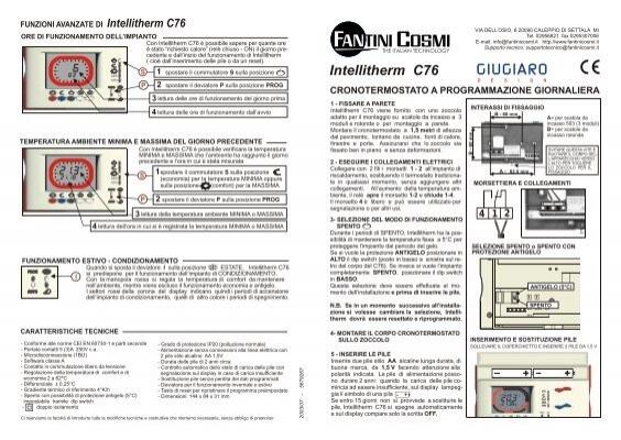 Istruzioni c76 fantini cosmi for Istruzioni termostato fantini cosmi