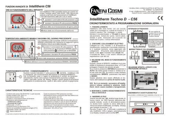 Istruzioni c56 fantini cosmi for Fantini cosmi intellitherm c55