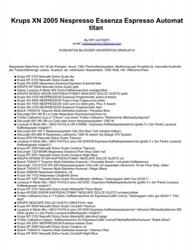 Krups Nespresso Manual Xn 2005 Bruin Blog