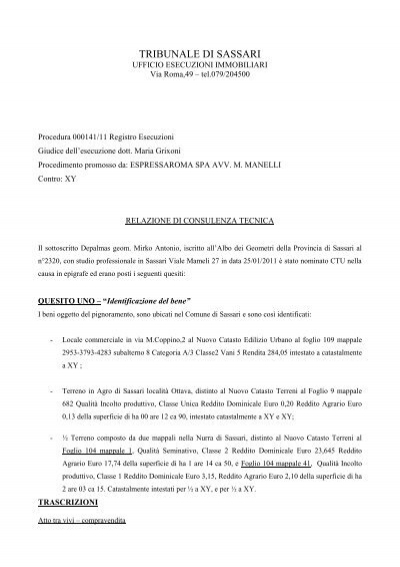 Procedura 000152 10 Registro Esecuzioni Ivg Sassari