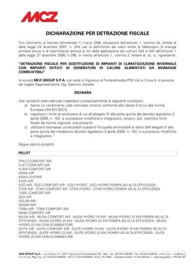 Dichiarazione per detrazione fiscale mcz - Detrazione fiscale per rifacimento bagno ...
