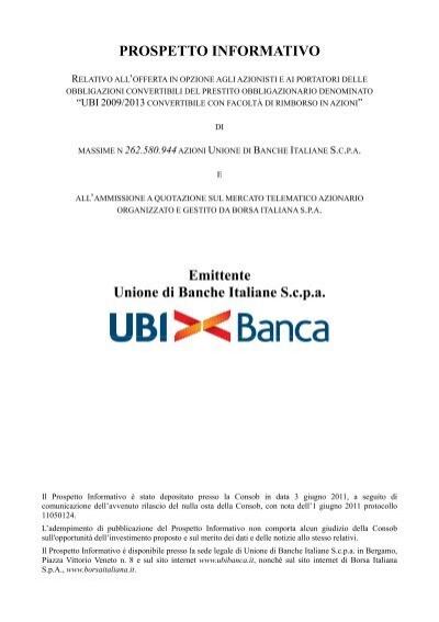Prospetto Ubi Banca